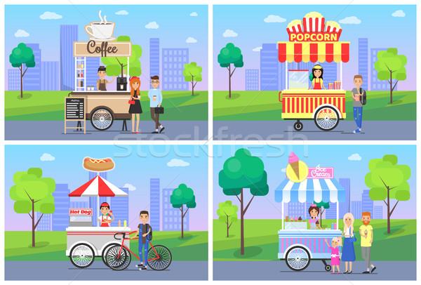 コーヒー ポップコーン 市 セット ホットドッグ アイスクリーム ストックフォト © robuart