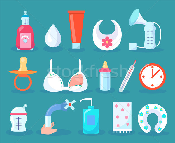 Children Care Collection Items Vector Illustration Stock photo © robuart