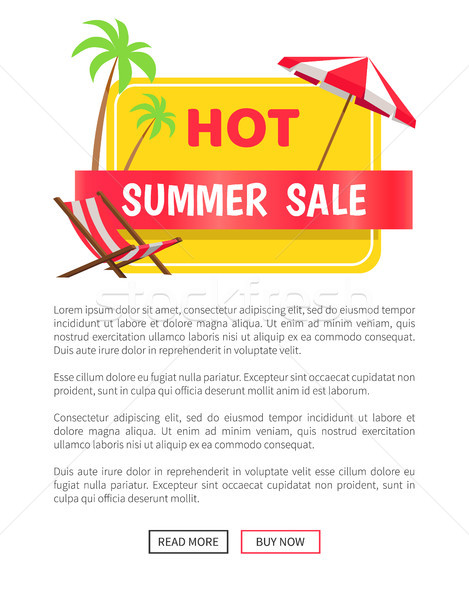 Summer Hot Sale Web Poster Push Buttons Palm Trees Stock photo © robuart