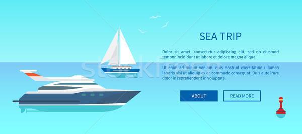 Tenger utazás hirdetés poszter tengerészeti csónak Stock fotó © robuart