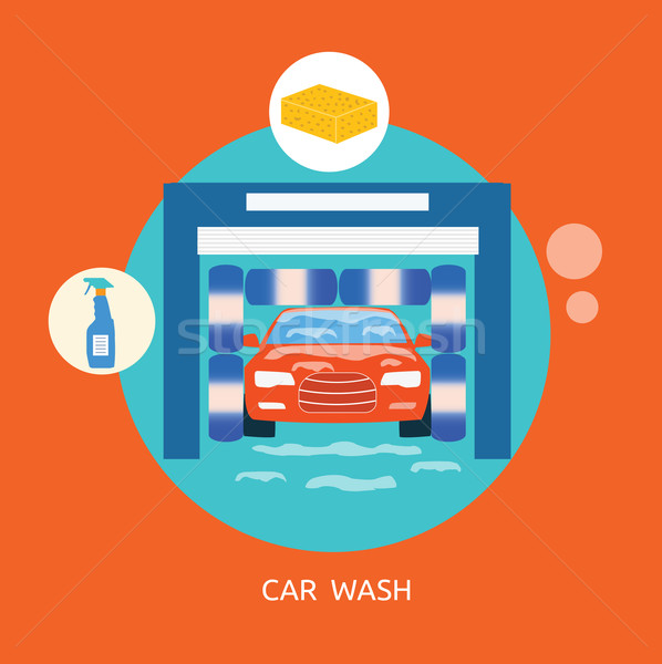Business concept car wash best clean non stop auto service Stock photo © robuart