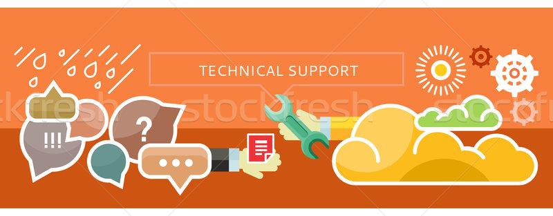 Technische ondersteuning banner presentatie technische ondersteuning wolk Stockfoto © robuart