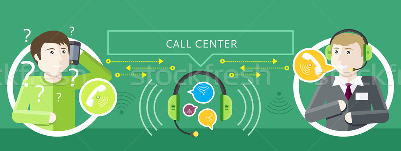 Concept of Call Centre Operator and Clients Stock photo © robuart