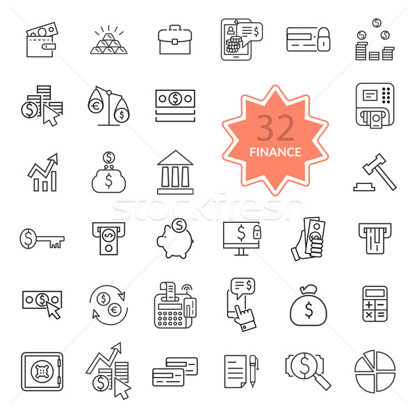 Thin Line Icons of Finance Stock photo © robuart
