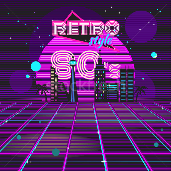 Stile retrò 80s discoteca design neon party Foto d'archivio © robuart