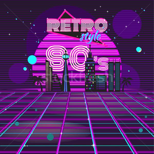 Retro style 80s disco design neon Stock photo © robuart