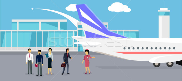 Boarding the Plane Flat Design Stock photo © robuart