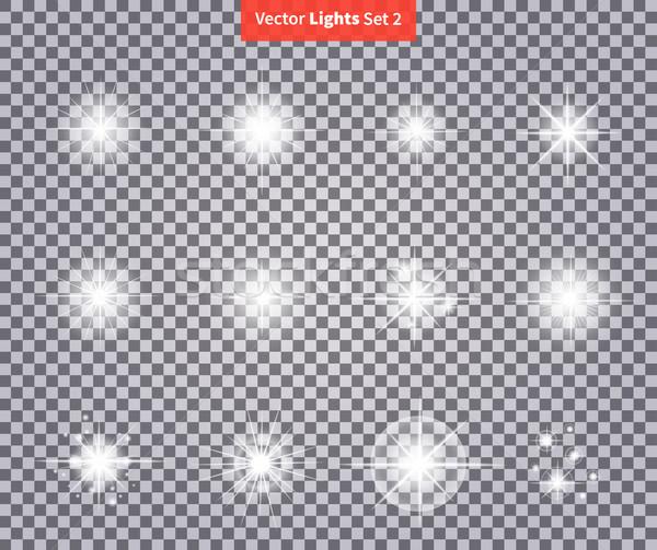 Set Glows Bright Star Light Fireworks Stock photo © robuart