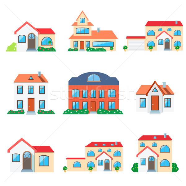 Maison maison immobilier faible icône Photo stock © robuart