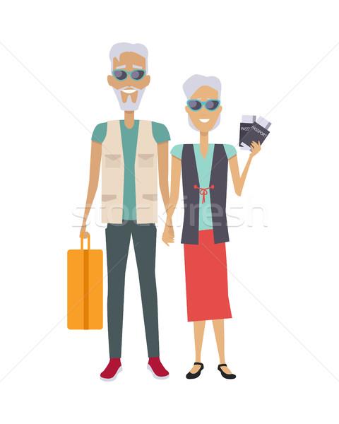 Viajar vetor projeto idoso casal Foto stock © robuart