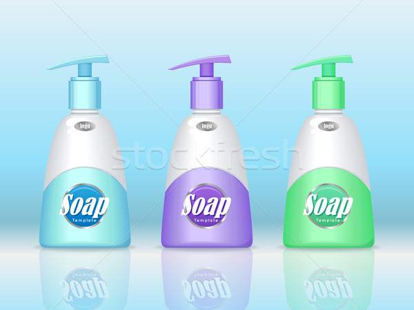Soap Bottles Set with Spreader. Cosmetic Product Stock photo © robuart