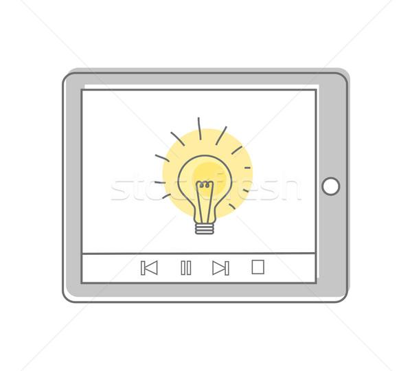Сток-фото: лампы · изолированный · таблетка · экране · видео · маркетинга