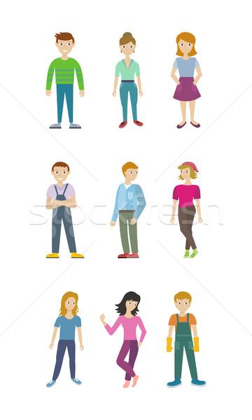 Schoonmaken personeel man vrouw geïsoleerd Stockfoto © robuart