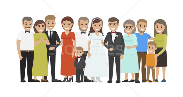 Wedding Guests Group Portrait Flat Vector Concept Stock photo © robuart