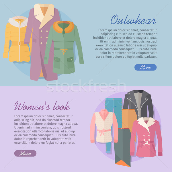 Outerwear Women s Look Web Banner. Apparel Vector Stock photo © robuart