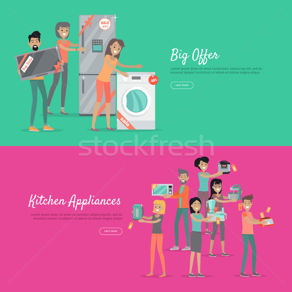 Big Offer Kitchen Appliances Set of People on Sale Stock photo © robuart