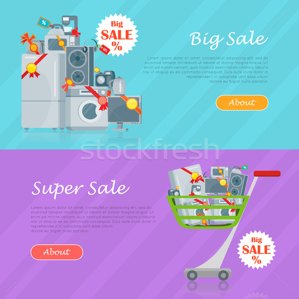 Sale in Electronics Store Vector Web Banners Stock photo © robuart