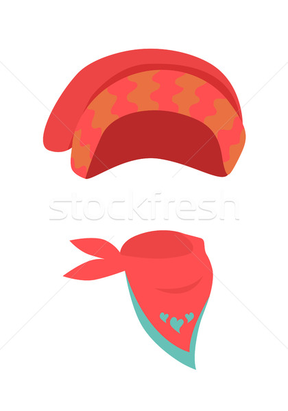 Hat. Contemporary Red Headwear for Girls and Scarf Stock photo © robuart
