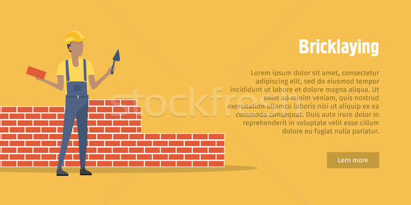 Bricklaying. Worker with spatula, brick in hands Stock photo © robuart