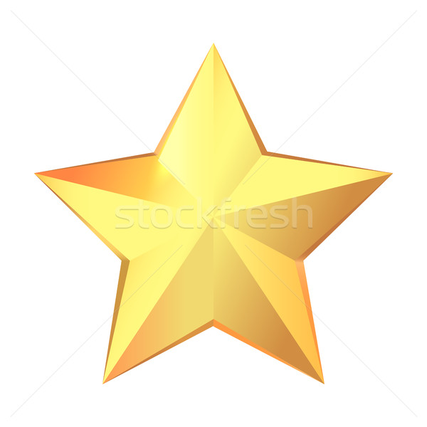 Trophy. Big Gold Star Isolated on White Background Stock photo © robuart