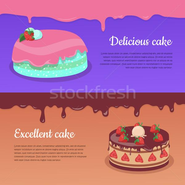 Torta ottimo fragola torta design Foto d'archivio © robuart