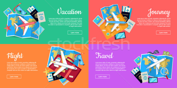 Set of Conceptual Web Banners for Travel Agency Stock photo © robuart