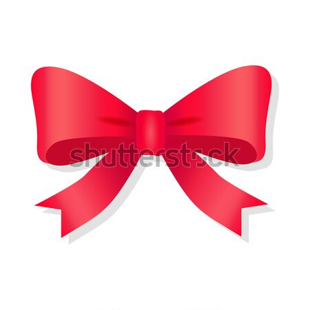 Red Bow Isolated on White. Pussy Bright Bowknot. Stock photo © robuart