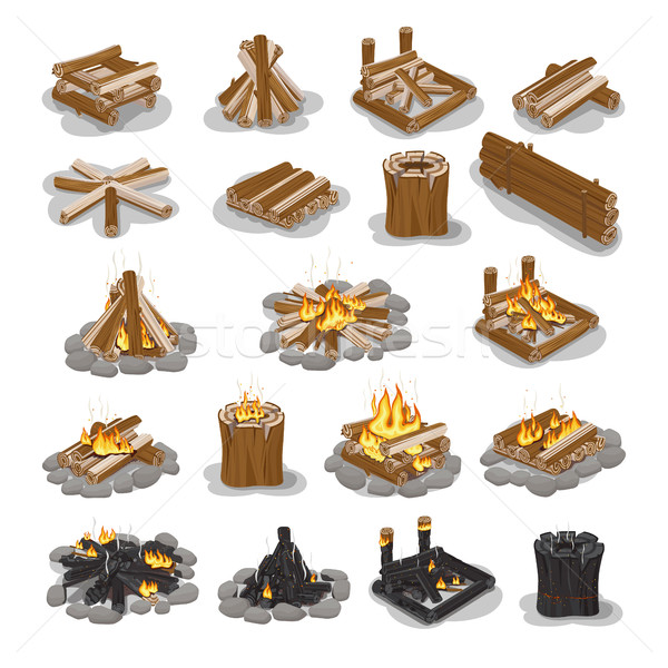 Campfire and Firewood Stages Set Isolated on White Stock photo © robuart