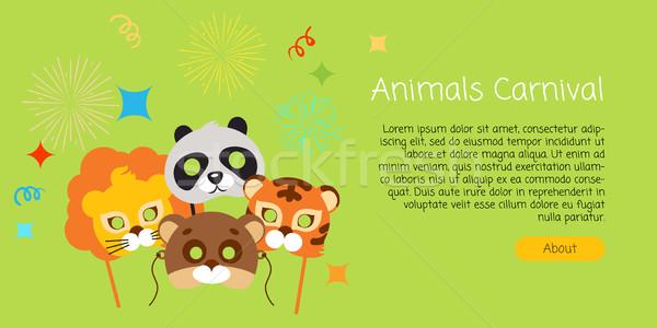 Vicces gyerekes állat maszkok karnevál stílus Stock fotó © robuart