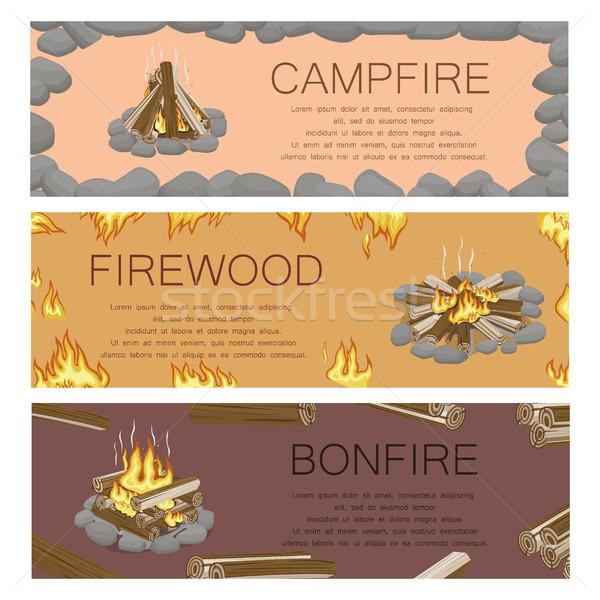 Kampvuur brandhout vreugdevuur kleurrijk poster vector Stockfoto © robuart