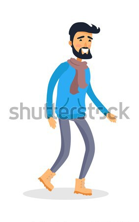 Dressed Caucasian Isolated Man with Smile Runs Stock photo © robuart