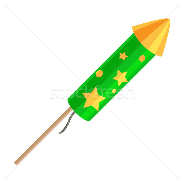 Green Exploding Rocket with Golden Stars Isolated Stock photo © robuart