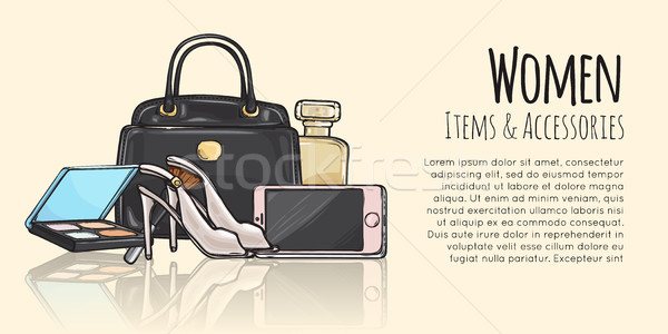 Women Items and Accessories Fashionable Web Banner Stock photo © robuart