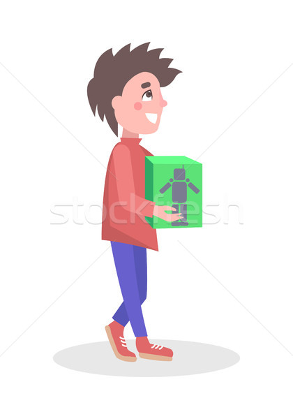Boy Buying Robot Toy in Store Flat Vector Icon Stock photo © robuart