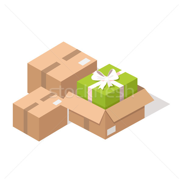 Cardboard post boxes with Presents Illustration Stock photo © robuart