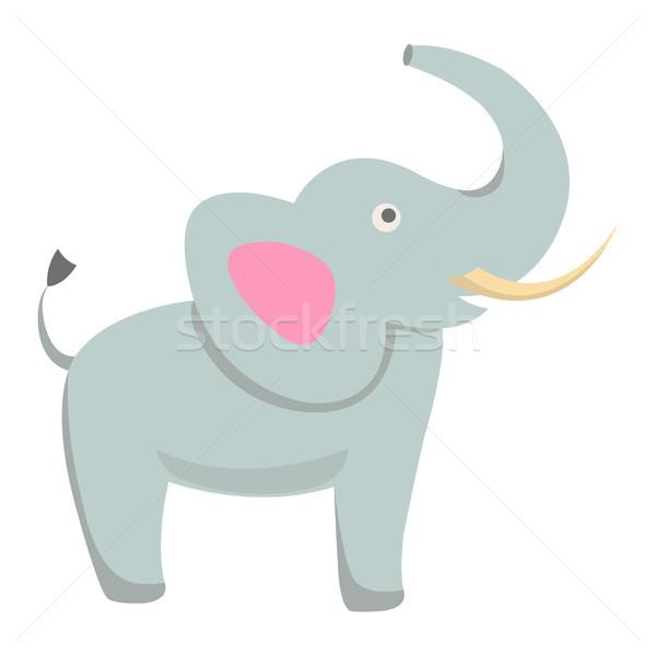 Aranyos elefánt rajz vektor matrica ikon Stock fotó © robuart