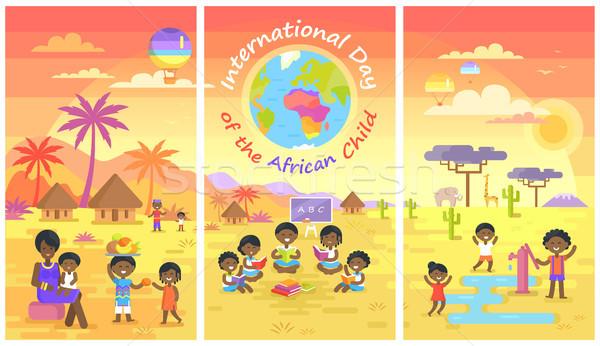 Foto stock: Internacional · dia · africano · criança · pôsteres · conjunto