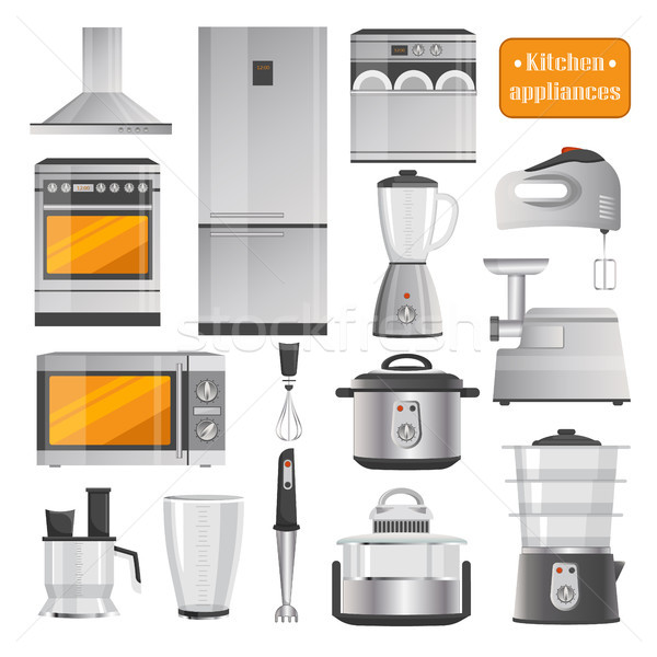 Kitchen Electric Appliances Big Illustrations Set Stock photo © robuart