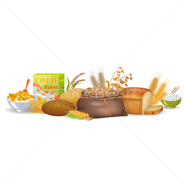 Cooked Cereals, Baked Bread and Organic Spikes Stock photo © robuart