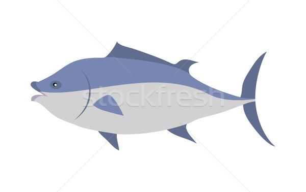 Tonijn cartoon vector geïsoleerd witte Stockfoto © robuart