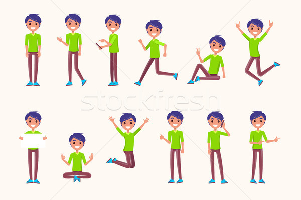 Guy Poses in Movement, During Jump, While Running Stock photo © robuart