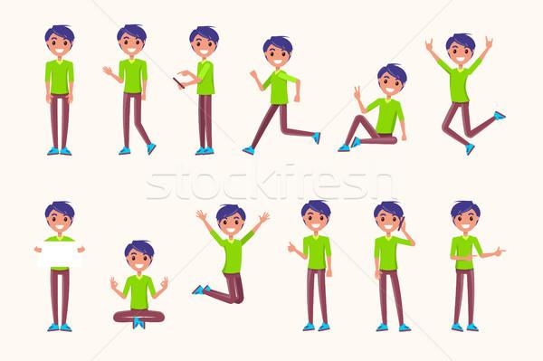 Fickó mozgás ugrás fut szóbeli kommunikáció Stock fotó © robuart
