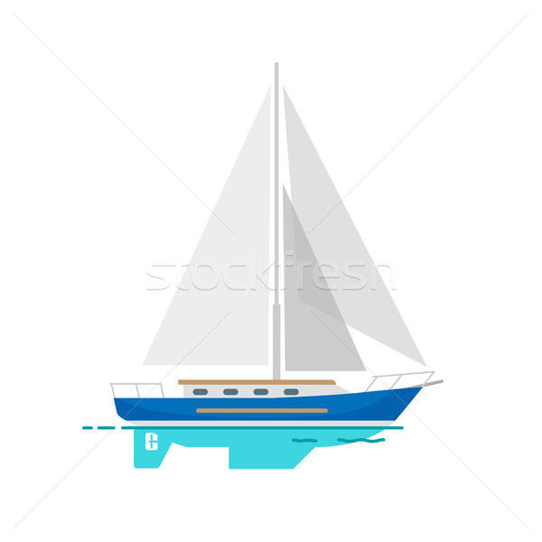 Yacht Sailboat with White Canvas on Water Surface Stock photo © robuart