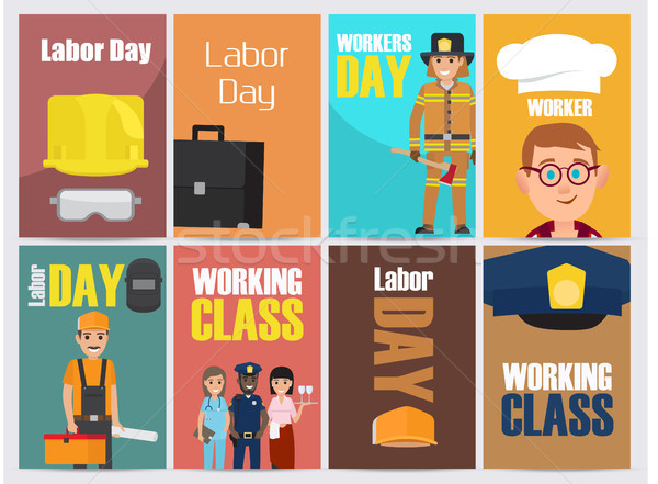 Labor Day Bright Promotion Posters Collection Stock photo © robuart