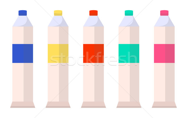 Tubes with Watercolor Paints Isolated on White Stock photo © robuart