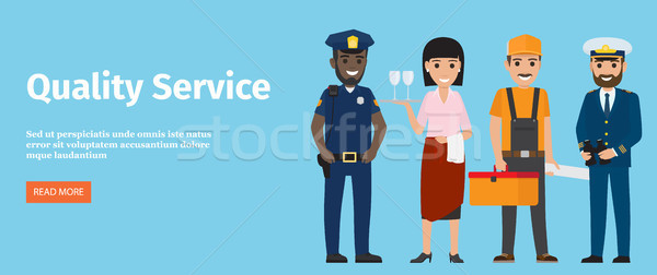 Quality Service of 4 Professions Isolated on Blue Stock photo © robuart