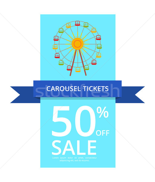 Carousel Tickets 50 Off Sale Vector Illustration Stock photo © robuart