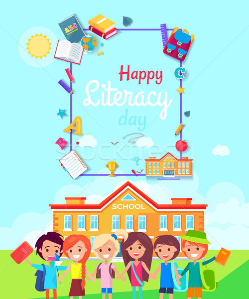Heureux alphabétisation jour affiche six enfants Photo stock © robuart