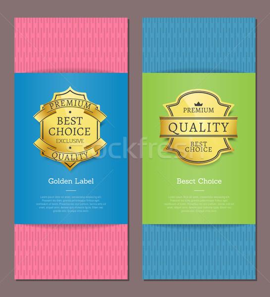 Zdjęcia stock: Złoty · etykiety · premia · jakości · ekskluzywny