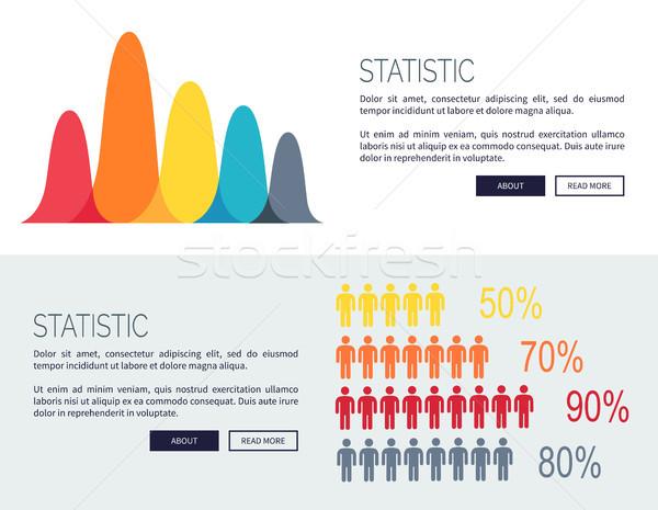 Statystyczny wykresy rozwój ludzi sylwetki Zdjęcia stock © robuart